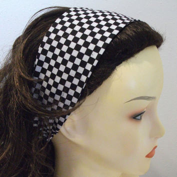 Black and White Checkered Wide Fabric Headband Reversible Wrap Around Race Flag Head Wrap