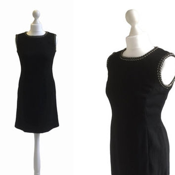 Black And Silver Vintage 1960's Dress - 60's Dress - Black Crepe Cocktail Dress - LBD Minidress - Little Black Dress
