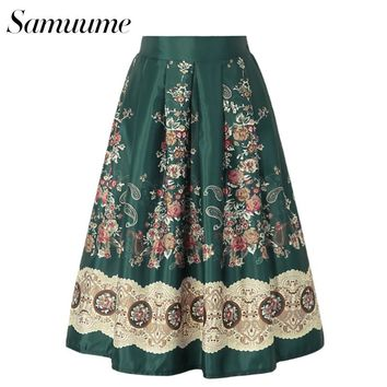 Samuume Vintage Rose Print Embroidery Satin Skirts Women 2017 Elastic High Waist A-line Pleated Midi Skirt Saias A1608006