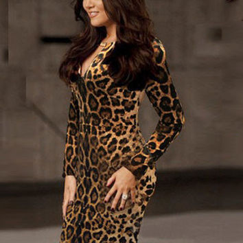 Leopard Print Long Sleeve Keyhole Bodycon Dress