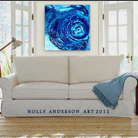 HEAVENS IN MOTION - a 24x24 Original Heavily Textured Contemporary Abstract Painting, by Holly Anderson Art