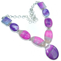 SilverRushStyle.com - Huge Fantasy Genuine Botswana Agate Sterling Silver handmade necklace