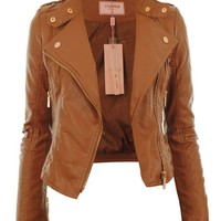 Gracious Girl Women's Diana Faux Leather Biker CropJacket Mint 4