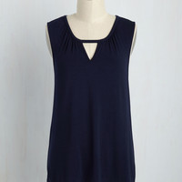 All for a Good Cosmopolitan Top in Navy | Mod Retro Vintage Short Sleeve Shirts | ModCloth.com
