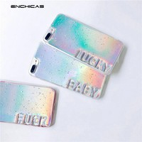 Fashion Girls Holographic Grunge Rainbow Gradient Color Card English Words Soft TPU Case for iPhone 6 6S 7 8 S Plus Shell Cover