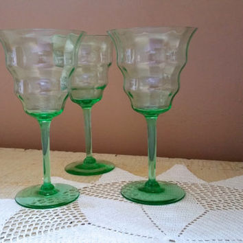 Depression Optic Rippled Bowl Green Vaseline Wine Glasses Water Goblets Set of Three Central Glass Works Pattern 1428