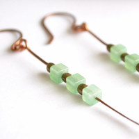 Hammered Copper Earrings / Earthy Bohemian Tribal Hand Forged Earrings / Green Aventurine Earrings