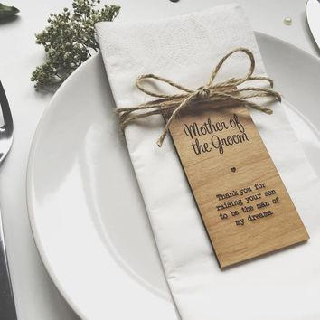 Mother of the Groom Rustic Wedding decor gifts ds, Napkin Rings, Wood Place card,Personalize