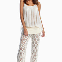 ELAN CROCHET LACE PANTS PALAZZO FLARE LEG RESORT COLLECTION 2013 NORDSTROM $89
