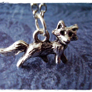 Silver Fox Necklace - Antique Pewter Fox Charm on a Delicate 18 Inch Silver Plated Cable Chain