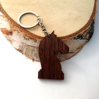 Wooden Chess The Knight Keychain, Chess Horse Keychain, Chess Pieces Keychain, Walnut Wood, Friendly Green materials