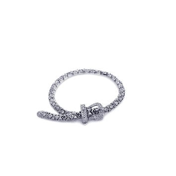 .925 Sterling Silver Rhodium Plated Small Buckle Clear Cubic Zirconia Bracelet: SOD