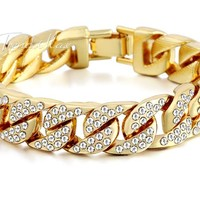 Mens Bracelet Hiphop Iced Out Miami Curb Cuban Gold-color