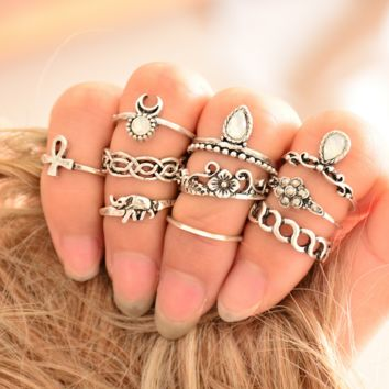 10PCS Elephant Moon Ring