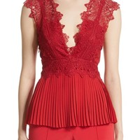Yigal Azrouël Coral Embroidered Pleated Top | Nordstrom