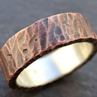 mens wedding band copper, rustic mens ring copper silver, mens wedding ring, unique mens ring wood structure, personalized mens ring
