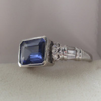 Take 10% off w/ Coupon Code 2.50 ct Emerald Cut Natural Violet Blue Tanzanite & Diamond Statement Ring 18k Bezel Setting Right Hand Ring
