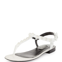 Studded Leather Flat Sandal, White - Balenciaga