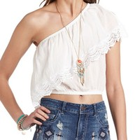 One Shoulder Crochet Trim Crop Top