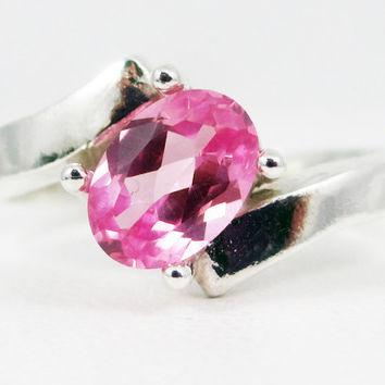 Pink Sapphire Offset Oval Gemstone Sterling Silver Ring
