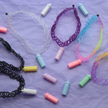 miniature kawaii baby bottle stretchy TATTOO CHOKER lots of colors!