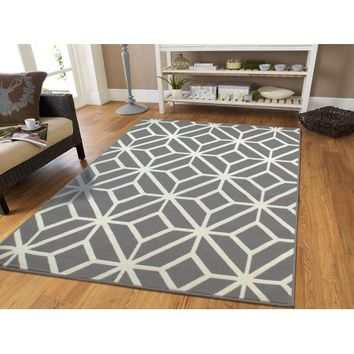 Large Gray Moroccan Trellis 8x11 Area Rugs For Living Room Grey Dining Room Rug for Under the Table - Walmart.com