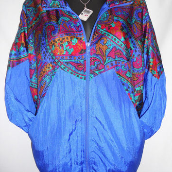Vintage 80s 90s Windbreaker Jacket Paisleys Stained Glass Window Pattern Lavon Brand Size Large Blue Floral