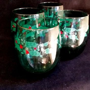 Libbey Kelly Green Roly Poly Glasses with Holly Pattern  S/4