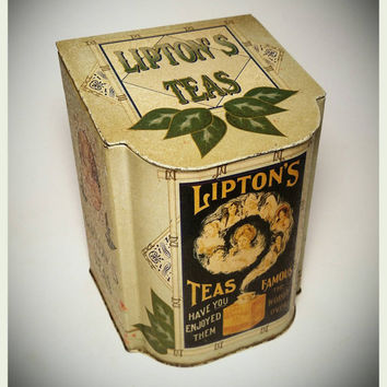 Collectible Lipton's Tea Tin Reproduction Tin/ Storage Tin / Kitchen Decor / Country Decor / Gift Tin / Cookie Tin / Best Gift Idea/F1446