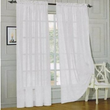 "Elegant Comfort® 2 Piece Solid Sheer 60"" x 84"" Window Curtains/drape/panels/treatment, White"