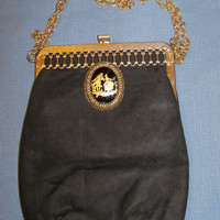 Vintage Handbag Black Suede Gold Trim Evening Purse Wedding Bridal Party Prom Opera Gift for Her Christmas Birthday