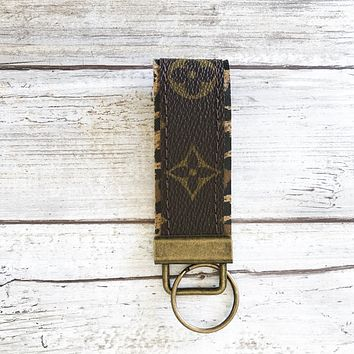 Upcycled LV Key Fob Lined in Leopard