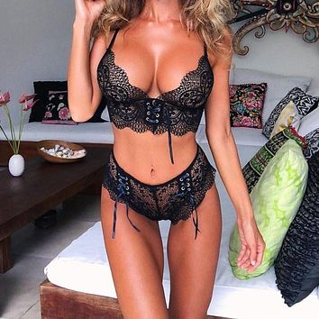 New Lace Sexy Bra Set Push Up Seamless Wire Free Bralette Hot Rose Red Lingerie and High Waist G-string Underwear Suit Female