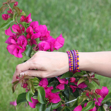 Pink, purple and orange wooden beaded bracelet