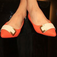 Orange Office Lady Temperament Flat Shoes Wholesale  : Wholesaleclothing4u.com