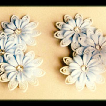 Vintage Blue Earrings Floral Celluloid Clip on Old Plastic and Rhinestone Jewelry 60s Summer Flower Child