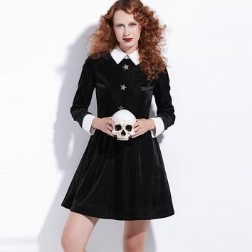 Velvet High Collared Dress