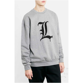 L Melting black print Death note printed on White or Light steel / Heather Crew neck Sweatshirt