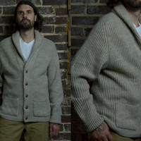Vintage Boston Trader Shawl Collared Varsity Style Wool Cardigan Sweater