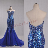 Royal blue Mermaid Beaded Long Prom Dresses, Evening Dresses, Party Dresses, Evening Gowns, Celebrity Dresses, Wedding Party Dresses