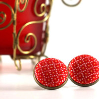 Christmas Red Stud Earrings - Earring Studs - Fabric Covered Buttons Earrings Jewelry - Xmas Yellow Dots Earring Posts