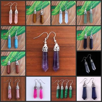 UMY Trendy Silver Plated Multi Style Quartz Stone Hexagon Column Quartz Earrings Designs Jewelry