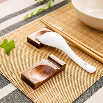 1pcs wooden spoon stand chopsticks rest japanese style wooden tableware