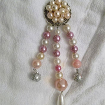 Upcycled Faux Pearls, Mid Century, Satin Pastel Color Beads, Faux Pearls, Pendant, OOAK Necklace, Silver Tone Metal Fittings and Chain,