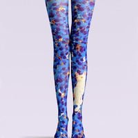 "Women's Fashion ""The Cat"" Printed Pattern Opaque High Waist Tights Pantyhose VK0145 by Fashnin.com"