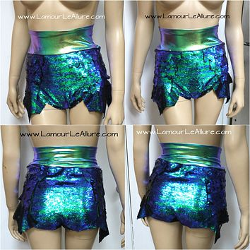 Disney Princess Ariel Iridescent Green Dragon Scale Mermaid High Waisted Sequin Shorts with Band