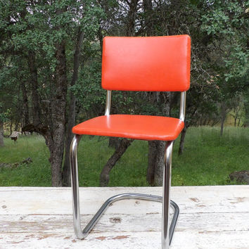 Chrome Chair Metal Orange Stool Mid Century 1950 Steel Kitchen Seating  Vintage Furniture Dining Petite