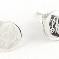 Monogrammed Small Round Earrings on Posts