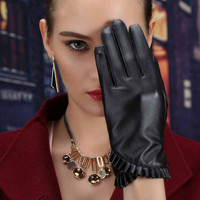 2016 fashion leather gloves, black PU Leather,lace winter gloves,women leather gloves,winter gloves women for driving 24*9 cm