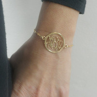 """Gold Monogram Bracelet - Personalized 1"""" 18k Gold plated Over 925 Sterling Silver - Valentines Gift"""